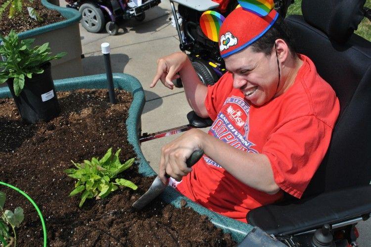 MEMH resident doing gardening